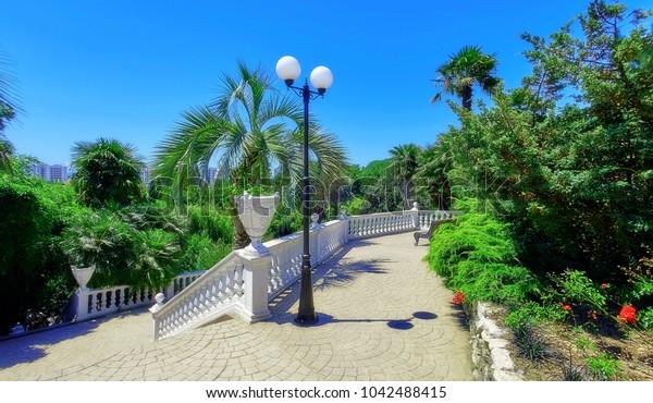 White stairs in summer botanic garden