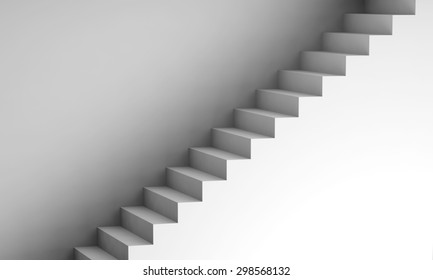 White stairway on the wall, 3d interior background, digital graphic illustration