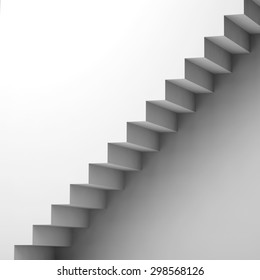 White stairway and wall, 3d interior fragment, square background, digital graphic illustration