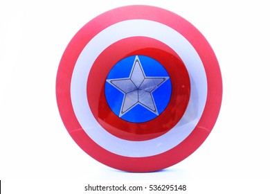 White star blue background in red circle