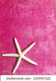 White starfish against a pretty pink texture, room for your text.