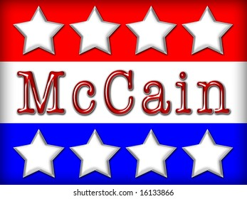 White stars on a red, white and blue background with the text McCain in red, shiny metallic letters.