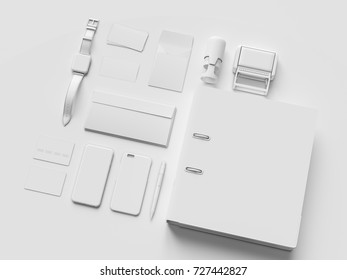 White Stationery & Branding Mockup . Office supplies, Gadgets. 3D illustration. High quality
