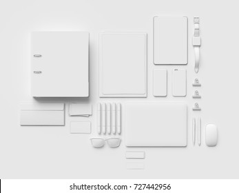 Gentil White Stationery U0026 Branding Mockup . Office Supplies, Gadgets. 3D  Illustration. High Quality