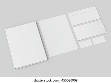 White stationery mock-up, template for branding identity on gray background. For graphic designers presentations and portfolios. 3D rendering.