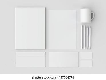White stationery mock-up, template for branding identity on gray background.For graphic designers presentations and portfolios. 3D rendering.