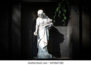 white statue with a dark background