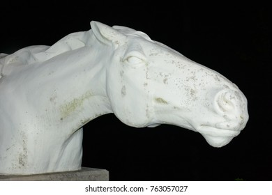 white statue of a horse head