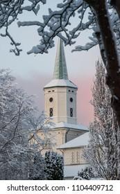 White stave church Norway Stavanger winter