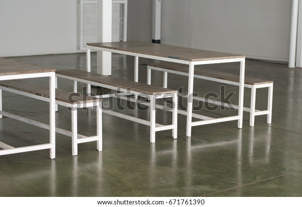 Brilliant White Steel Benches Tables On Glossy Stock Photo Edit Now Ocoug Best Dining Table And Chair Ideas Images Ocougorg