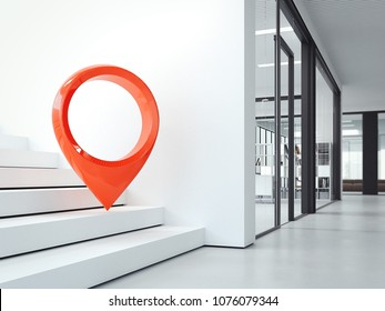 White steps in bright modern office and red geotag or map pin. 3d rendering
