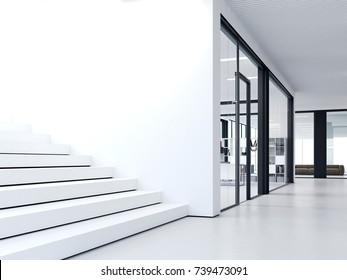 White steps in bright modern office. 3d rendering