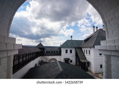White stone Assumption monastery built in the 16th century , Sviyazhsk, Russia.