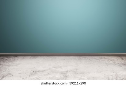 White stone floor with blue wall