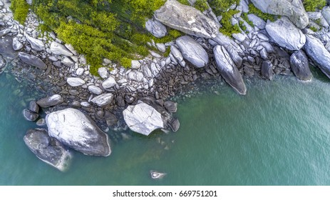 White Stone and Green Trees Near Blue Ocean/Seascape/Bird Eye View