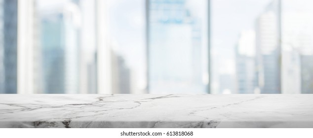 White Stone table top and blur glass window wall building banner background - can used for display or montage your products.