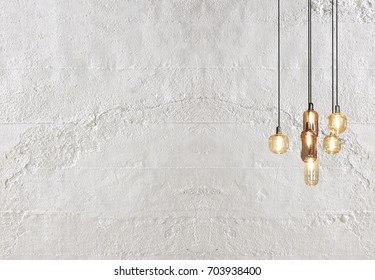 white stone wall, interior design for home, office, hotel and bedroom, modern lamp