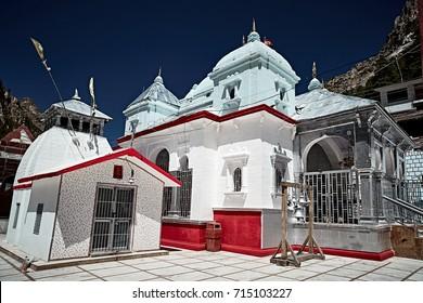 White stoned Indian temple in Gangotri. Uttarakhand, Nord India.