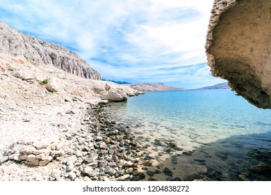 White stones beach on the island of Pag, Croatia