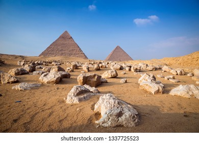 White stones near the great pyramids of Giza, in Egypt