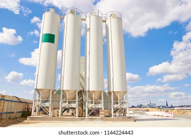 White storage tanks view. Fuel and gas industry.