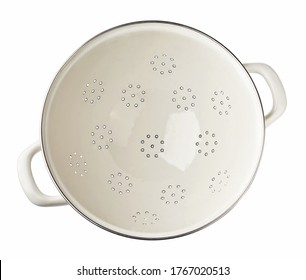 White strainer isolated on a white background. Top view of colander.