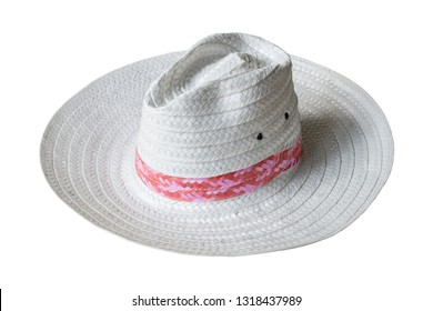 white straw hat isolated on white background with clipping path