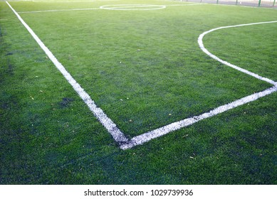 White stripe on the green soccer field from side view