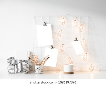White studio room interior with posters mock-up, scandinavian st