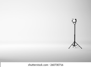 White studio with spotlight