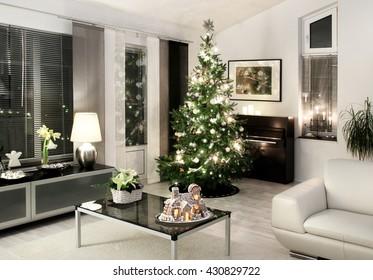 White style modern Christmas living room Xmas tree