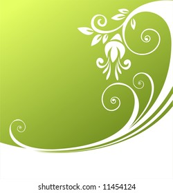 White stylized vegetative pattern on a green background. Digital illustration.