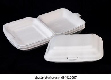 white styrofoam box on black background