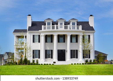 White Suburban American New England Style Dream Home with Large Front Porch