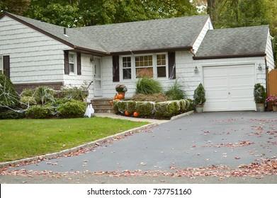 White Suburban Ranch Home USA