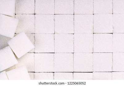 White sugar cubes, full frame, in order