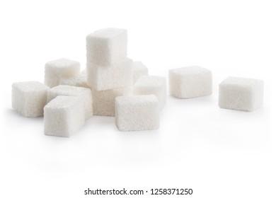 White sugar cubes, isolated on white background