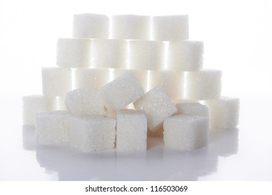 white sugar cubes  on white background