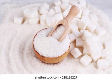 White sugar in light background background