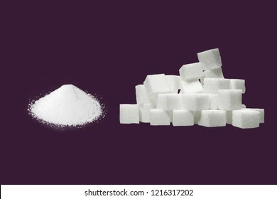 white sugar sand and white suger cubes (suger squares) with purple background