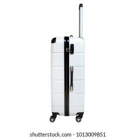 White suitcase isolated on white background. Polycarbonate suitcase isolated on white. White suitcase.