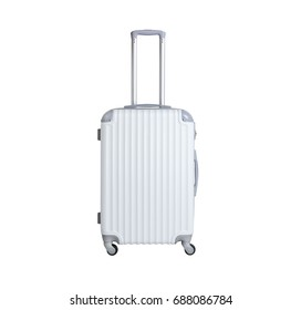 White suitcase isolated on white background. Polycarbonate suitcase isolated on white. White suitcase