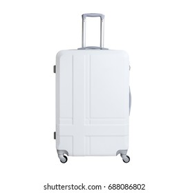 White suitcase isolated on white background. Polycarbonate suitcase isolated on white. White suitcase