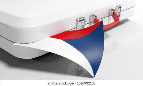 White suitecase with flag of Czech Republic - 3D rendering illustration