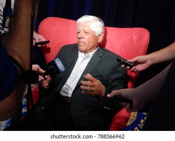 White Sulphur Springs, WV / USA - June 6, 2016: Lee Trevino speaks to reporters at Media Day to promote the 2016 Greenbrier Classic PGA golf tournament. The event was later cancelled due to flooding.