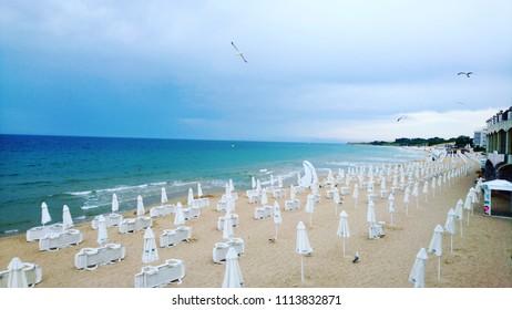 white sun umbrellas on sand beach gull fly birds sea tide shore rainy vacation