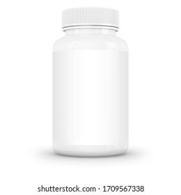 White supplement bottle for medicine