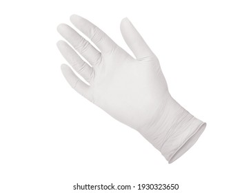 White surgical medical glove isolated on white background with hands. Rubber glove manufacturing, human hand is wearing a latex glove. Doctor or nurse putting on nitrile protective gloves