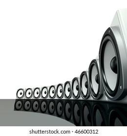 White surround sound boxes on shiny black ground