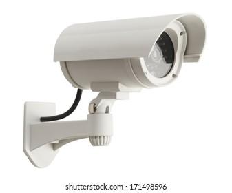 White Surveillance Camera Isolated on White Background.